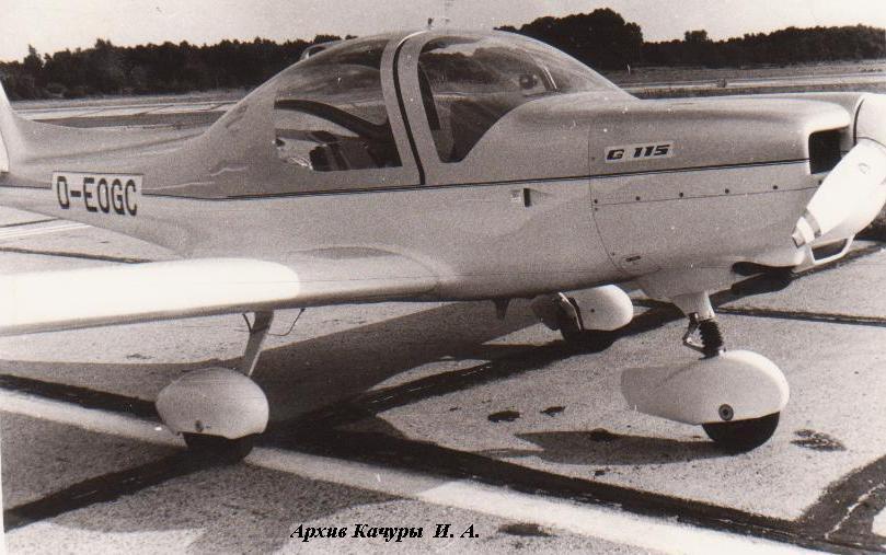 Самолет-нарушитель Grob G-115 на аэродроме Дамгартен